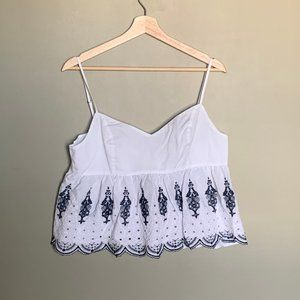 Abercrombie & Fitch white eyelet embroidered tank